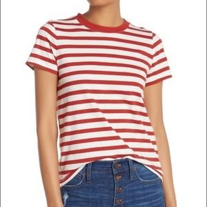 New Madewell Red Stripe tee size XL